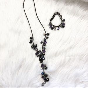 Vera Wang Purple Black Pendant Necklace Bracelet